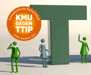 © 3D Rendering: www.corporate-interaction.com; Logo: KMU-gegen-TTIP