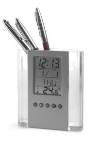 X96965 Stifteköcher Acryl mit Uhr500px