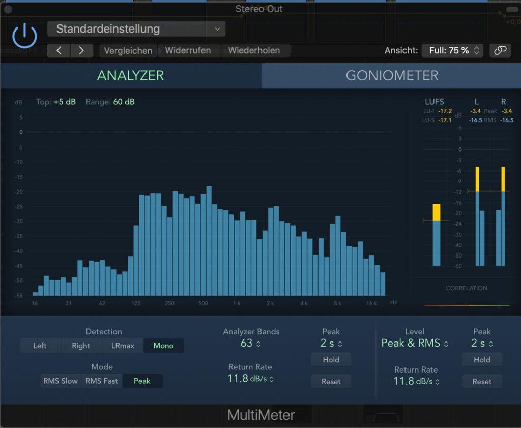 Screenshot eines Analysewerkzeuges aus Apple Logic
